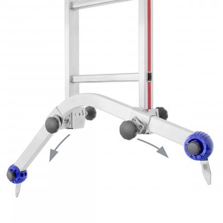 Stufenlos verstellbare Universal-Traverse mit schwenkbaren Stahlspitzen