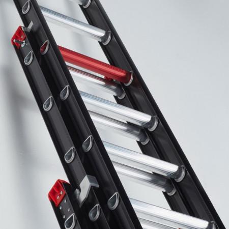 Die rote Sprosse zeigt immer die maximal sichere Standhöhe an