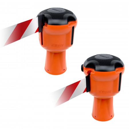 Leergehäuse als Einhängepunkt für das Band eines benachbarten Dispensers.
