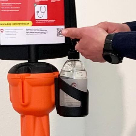 Pumpspender + Desinfektionsmittel sind im Mietpreis nicht inbegriffen