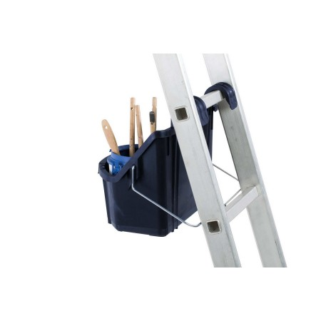 Der durchdachte Henkel lässt sich bei Leitern zum Abstützen verwenden