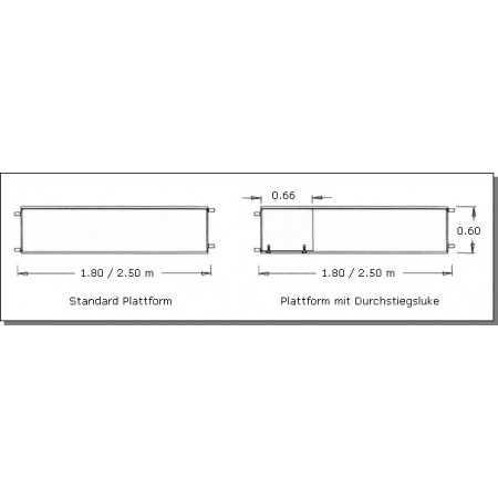 Standard Plattform und Plattform mit Durchstiegsluke