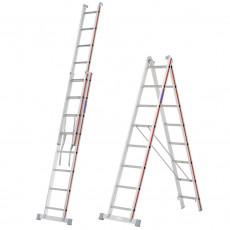 Verwendbar als Stehleiter oder zweiteilige Anlegeleiter (Schiebeleiter)