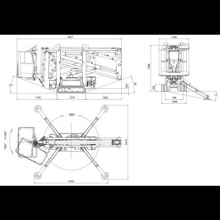Aussenmass der Stützen in Arbeitsstellung: 3.35 x 3.41 m