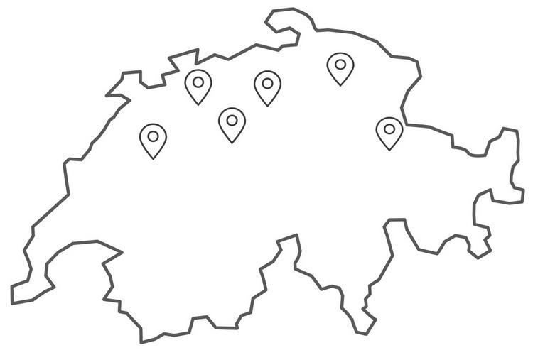 Schweizer Karte mit eingezeichneten Kursorten