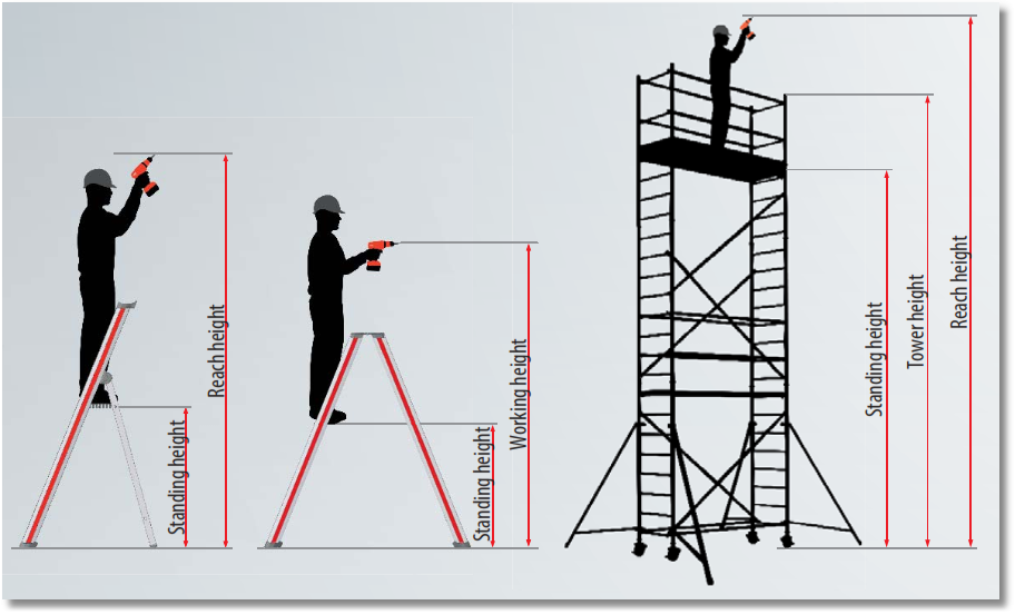 Illustration of standing-, working- and reach-height